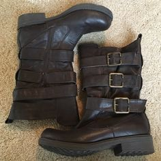 Taupe Buckled Boots these are brand new. super cute, medium height boots with fun buckles and a zipper Shoes Combat & Moto Boots