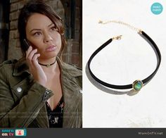 Urban Outfitters Alix Opal Choker Necklace worn by Mona Vanderwaal on PLL Pll Outfits, Tv Show Outfits, Pretty Little Liars Fashion, Suede Moto Jacket, Circlet, Inspirational Celebrities, All Black Outfit, Style Guides, Chokers