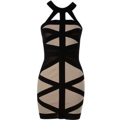 Lipsy Caged Bodycon Dress ❤ liked on Polyvore