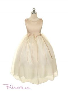 Champagne Classical Satin Bodice with Organza Girl Dress