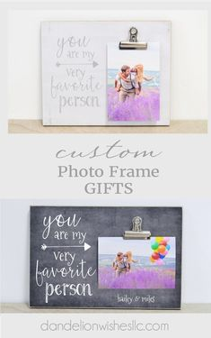 This picture frame is a fun gift for that special, favorite person! Photo clip on the frame makes it easy to always keep an up to date photo on display! Frame can be personalized with names to make it extra special! You Are My Very Favorite Person. Best Friend Picture Frames, Best Friend Pictures, Special Wedding Gifts, Bridal Gifts, Best Valentine Gift, Valentines, Custom Photo Frames, Best Friend Wedding, Christmas Gifts For Her