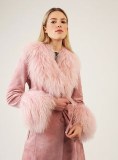 Made from faux suede and Mongolian trims in a logline silhouette, complete with a tie belt to define your figure. The Penny jacket is our new season favourite, inspired by Penny Lane and the fabulous flair of the Penny Lane Coat, Girly Girl Outfits, Charlotte Simone, Dusty Pink, Signature Style, Fur Coat, Glamour, Denim, Jackets