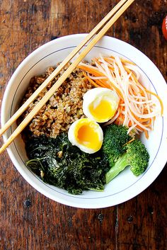 Leftover Grain Bowl w/ pickled daikon and carrots, soft-boiled egg