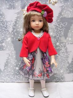 """Effner 13"""" Little Darling Pretty """"Red Berry"""" Hanky Dress Jacket and Hat   by biscotti via eBay SOLD $49.90"""