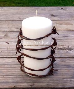 Barbed Wire and White Pillar Candle. Western Home Decor by HorseShoeFever. Reusable CA Reclaimed Barbwire Fencing. Candles, Rustic, Ranch, Farm, Primitive, Housewares, Western Candle, Pillars, Country, Cowboy, Cowgirl, Birthday, Western, Rustic, Cabin, Christmas Present, Fragrance Free. $11.99