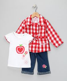 Young Hearts Red Plaid Jacket Set