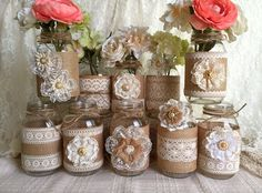 10x natural color lace and burlap covered mason jar vases