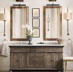 Master bath .. St. James Double Vanity Sink Antiqued Coffee - Restoration Hardware