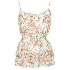 Floral Tiered Tank ($25) ❤ liked on Polyvore featuring tops, shirts, tank tops, tanks, blusas, view all tops, floral tank, sleeveless tank tops, white tank and chiffon shirt
