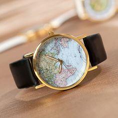 Retro World Map Watch (96 CNY) via Polyvore featuring jewelry, watches, retro jewelry, retro watches and retro style jewelry