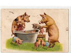 Vintage postcard - bath time
