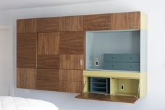 Use wood with the grain going in different directions to create some built-in storage
