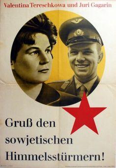 Yuri Gagarin and Valentina Tereshkova, 1963 - original vintage poster listed on AntikBar.co.uk