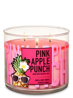 Pink Apple Punch Candle by Bath & Body Works Cute Candles, Pink Candles, 3 Wick Candles, Luxury Candles, Best Candles, Scented Candles, Bath Body Works, Bath And Body Works Perfume, Bath And Bodyworks