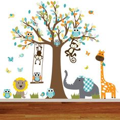 Safari Jungle Animals Wall Decal Safari Tree Set Wall Decal Sticker Nursery Kids Playroom Decor Monkey Giraffe Elephant Lion Wall Decal | Pinterest ...  sc 1 st  Pinterest & Safari Jungle Animals Wall Decal Safari Tree Set Wall Decal Sticker ...