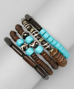 Brown & Turquoise Bead Coil Bracelet by ZAD on #zulily