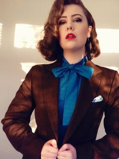 1970's Inspired Menswear - Brown Suit + Blue Blouse