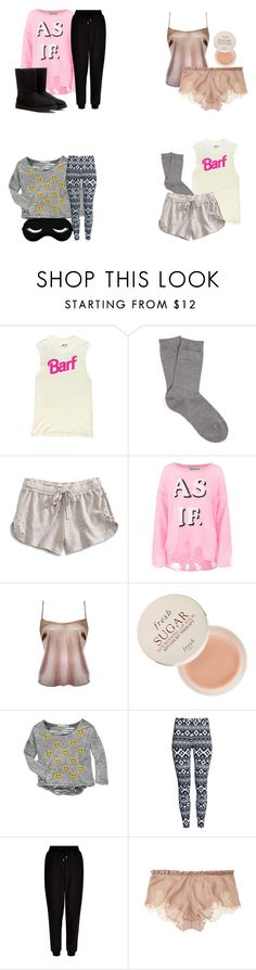 """Aria Montgomery sleepwear - pll / pretty little liars"" by shadyannon ❤ liked on Polyvore featuring Falke, Lucky Brand, Wildfox, Fresh, Vintage Havana, H&M, New Look, Carine Gilson and UGG"