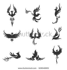 Phoenix bird stylized silhouettes icons on white background. Logo template in the form of a burning flying phoenix. The concept of growth, strength and freedom. Phoenix Tattoo Feminine, Tribal Phoenix Tattoo, Small Phoenix Tattoos, Phoenix Tattoo Design, Tribal Tattoos, Small Tattoos, Unique Tattoos, Cute Tattoos, Beautiful Tattoos
