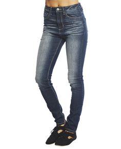"""Awesome skinny jean by Cello Jeans features a stretchy dark sandblasted denim body with contrast stitching, whiskered thighs, a five pocket design, button and zip closure, and belt loops.    Model is 5'9"""" and wears a size 5      30"""" Inseam  10"""" Leg Opening  80% Cotton / 18% Polyester / 2% Spandex  Machine Wash  Imported"""