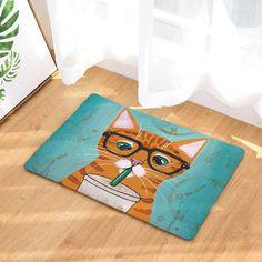 Yellow Tabby Cat Lovers Feline Print Multicolor Mats 40*60cm/50x80cm Entrance Doormats Washable Kitchen Floor Bathroom Rug