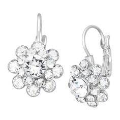 2/22/16 - CRYSTALUXE Flower Drop Earrings with Swarovski Crystals in Brass