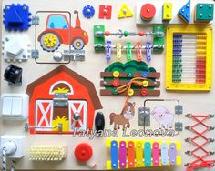Busy Board Farm Activity Board Sensory Board Wooden Toy by LIKKO
