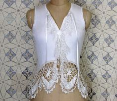 Cotton Sweater Sleevless Vintage Lace Doily Boho Gypsy Shabby Chic Romantic Upcycled