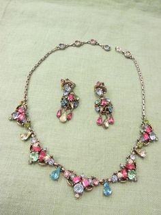 Vintage 1953 Signed HOLLYCRAFT Pastel Rhinestone Necklace Dangling Earrings Set #Hollycraft