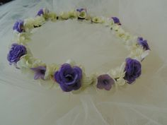 Lavender Rose Flower Crown Fairy Tiara Purple and Cream Rose Wreath by BunniesMadeOfBread on Etsy