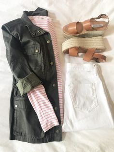 -- flat lay -- platform espadrilles -- white jeans outfit -- transitional weather outfit -- cargo jacket outfit -- utility jacket outfit -- pink and white stripe shirt outfit -- spring casual outfit -- rainy day outfit -- #tiffaniatbretonbay