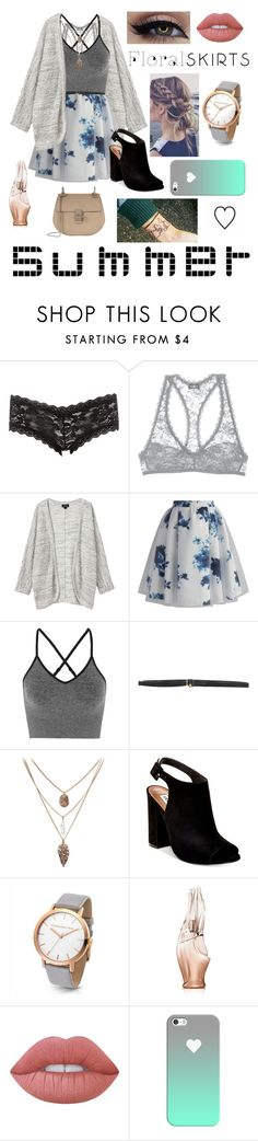 """Floral Skirts"" by thxpxssinglxfe ❤ liked on Polyvore featuring Charlotte Russe, Cosabella, Monki, Chicwish, Ivy Park, Tonello, Steve Madden, Donna Karan, Lime Crime and Casetify"