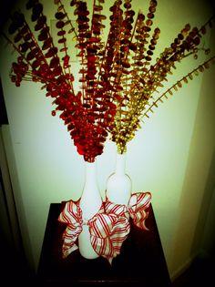 empty wine bottles --> Christmas decor