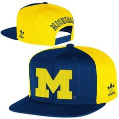 adidas Michigan Wolverines Pinstripe Snapback Adjustable Hat - Navy Blue/Maize