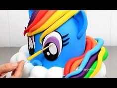How to Make a Rainbow Dash Pony Cake My Little Pony Party, Cumple My Little Pony, My Little Pony Birthday, Sweet Birthday Cake, Funny Birthday Cakes, Cake Topper Tutorial, Cake Toppers, Rainbow Dash Cake, Watermelon Dessert