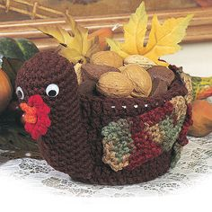 Turkey Nut Dish - part of a fantastic roundup of free crochet Thanksgiving patterns on mooglyblog.com