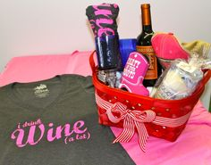 """Valentines Day gift ideas from Team Cocktail. Basket Contains: T-shirt- I drink wine (a lot), Grey Goose Candle, Pink Bootzie, Two Blue stem wine glasses, Pink """"Vodka is Awesome"""" hat.  Perfect gift basket for the girl you love, who loves to have fun! http://www.teamcocktail.com/collections/frontpage/products/wine-a-lot-tee"""