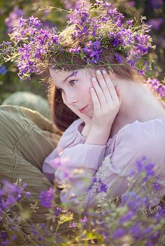 ✿ lady with flowers ✿ Purple In the Meadow by Loreta