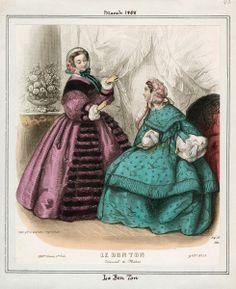 In the Swan's Shadow: Le Bon Ton, March 1858.  Civil War Era Fashion Plate