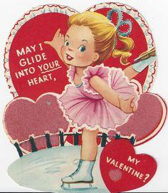 Vintage Valentine Ice Skater Glide Into Your Heart My Funny Valentine, Valentine Images, Valentines Day Greetings, Valentines Art, Vintage Valentine Cards, Vintage Greeting Cards, Vintage Holiday, Valentine Day Cards, Vintage Postcards