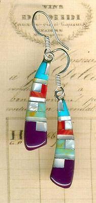 Southwest-Inlay-Gemstone-Earrings-Purple-Sugalite-Turquoise-Red-Jasp-Sterling