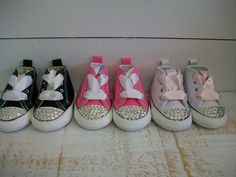 Baby Shoes Black Pink White Converse Bling Rhinestone Swarovski Crystal Baby Shower Gift Ribbon Baby Bling Shoe Laces. by Arbie Goodfellow