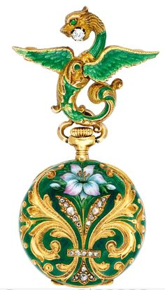 AN ART NOUVEAU ENAMEL AND GOLD LAPEL WATCH, CIRCA 1900