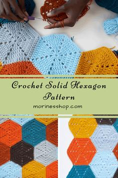 Hexagon Crochet Pattern, Crochet Hexagon Blanket, Crochet Squares, Crochet Blanket Patterns, Crochet Motif, Diy Crochet, Crochet Crafts, Crochet Stitches, Crochet Projects