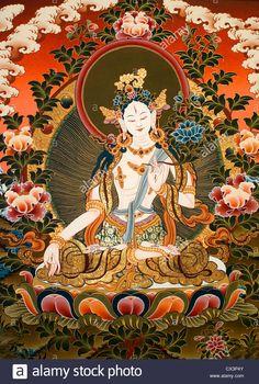 Tibetan Buddhist thangka painting of White Tara from Nepal Stock Photo Tibetan Art, Tibetan Buddhism, Buddhist Art, Nepal Art, Buddhist Practices, Thangka Painting, India Art, Old Paintings, Silk Painting