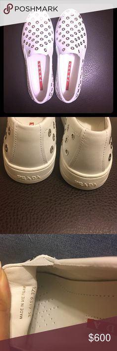 Prada Burried Grommets Slip On Sneaker 👟 Selling for my sister 😊 she has had them for while (only tried on) , got pregnant and her foot grew. They no longer fit her. They are 💯 authentic 👍🏼 She is open to offers. No low balling please. She needs the money to pay off hospital bills. Thank you for your time. Prada Shoes Sneakers