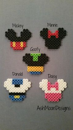 Mickey Mouse Inspired Perler Bead Keychains, Magnets, Lanyard Clips &…