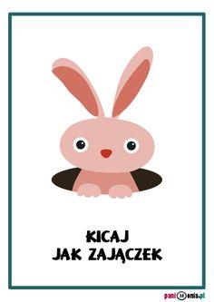 Zabawy ruchowe w przedszkolu - karty obrazkowe i inspiracje - Pani Monia Sensory Integration, Teaching English, Social Skills, Handmade Toys, Classroom Decor, Hand Lettering, Activities For Kids, Pikachu, Kindergarten