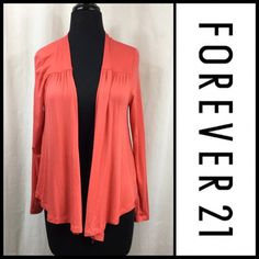 Listing NWOT Drape Front Cardigan Stretchy lightweight cardigan.  Great to carry in purse and toss on when a little chilly.  NWOT. Forever 21 Sweaters Cardigans
