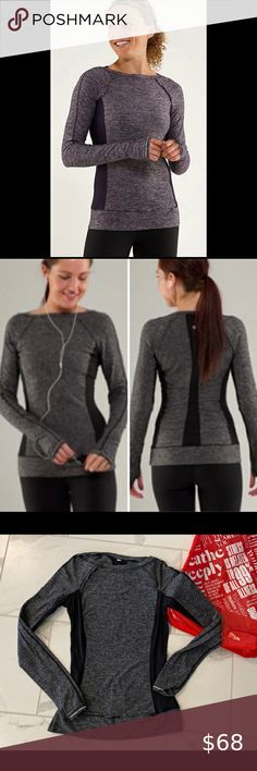 Lululemon Full Tilt Long Sleeve Run Top Lululemon Full Tilt Long Sleeve Run Top Size 4. This grey and black slim fitting long sleeve top is made of soft Rulu fabric and has 4 way stretch to wick away sweat. Breathable mesh panels in back and under the arms. Hidden pocket in the hem and reflective detail. Thumholes. Slim fit and mid hip. Amazing used condition! lululemon athletica Tops Short Sleeve Tee, Long Sleeve Tops, Plus Fashion, Fashion Tips, Fashion Design, Fashion Trends, Running Tank Tops, Running Women, Tilt